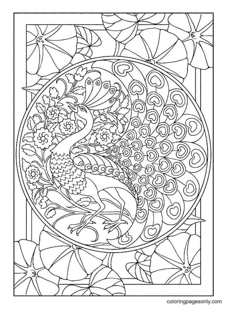 Print Adult Art Nouveau Style Peacock Coloring Page