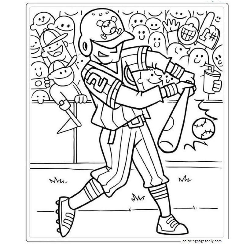 Printable Baseball 2 Coloring Page