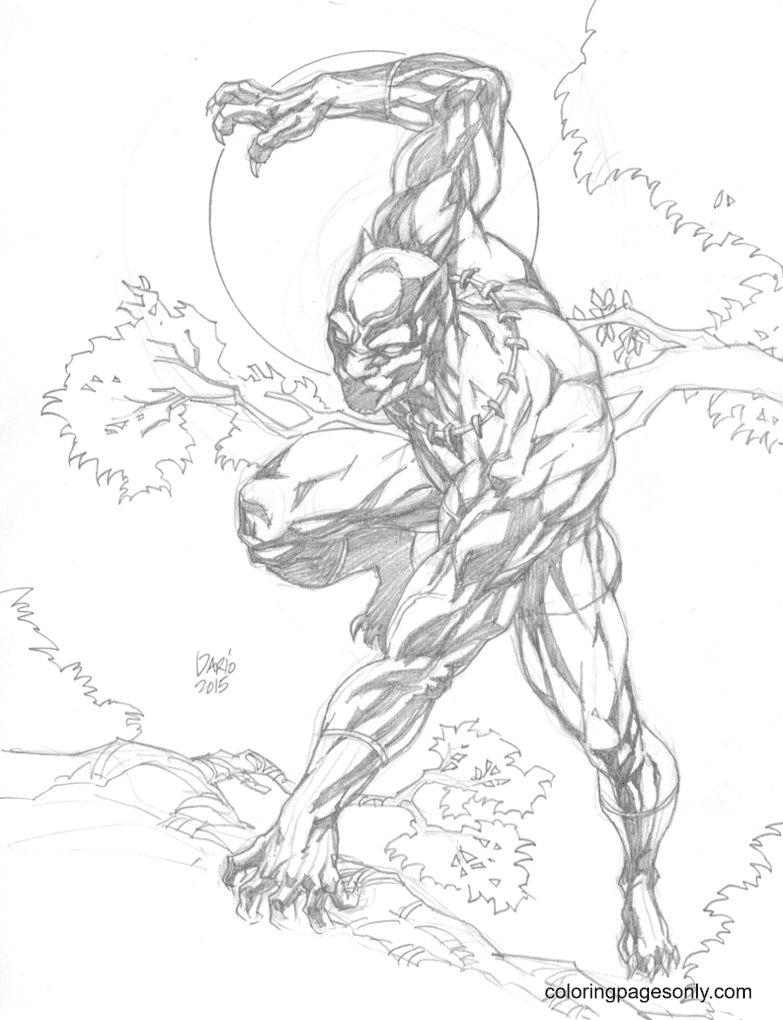 Printable Black Panther Coloring Page