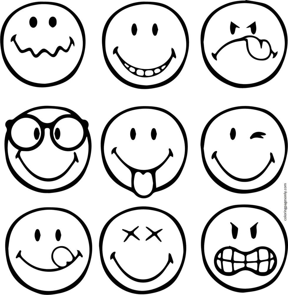 Printable Emojis 10 Coloring Page