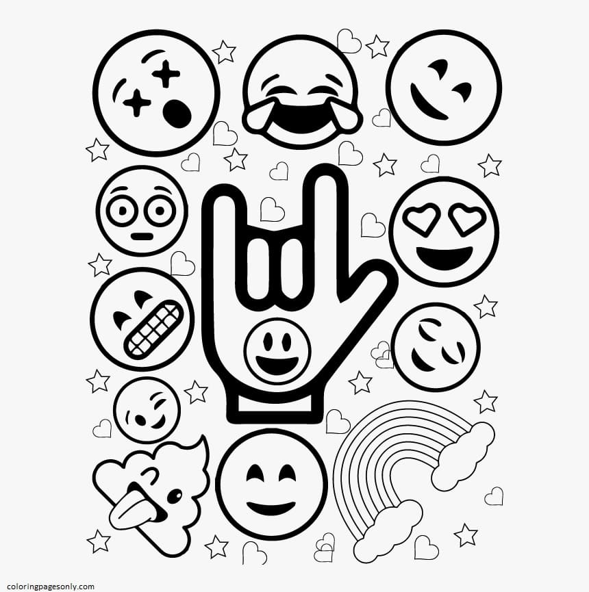 Printable Emojis 3 Coloring Page