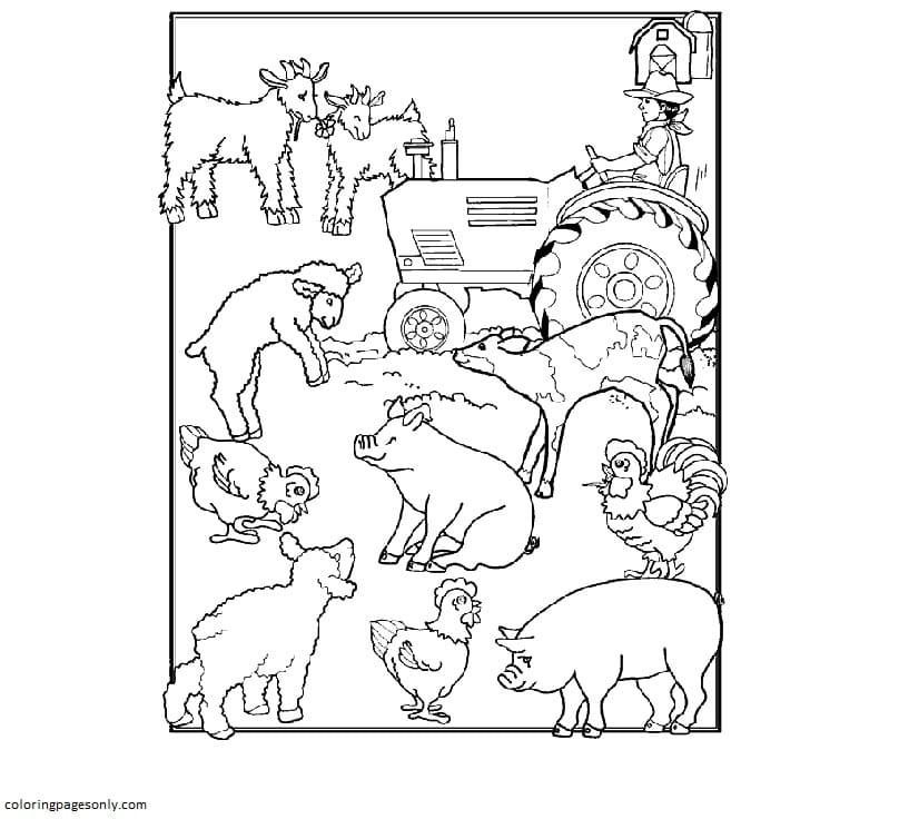 Printable Farm Animals 1 Coloring Page