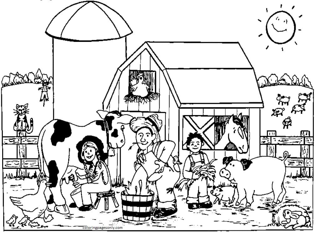 Printable Farm Animals 2 Coloring Page
