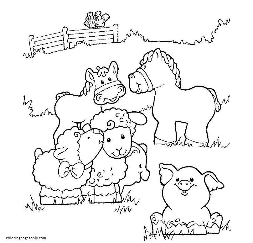 Printable Farm Animals 3 Coloring Page