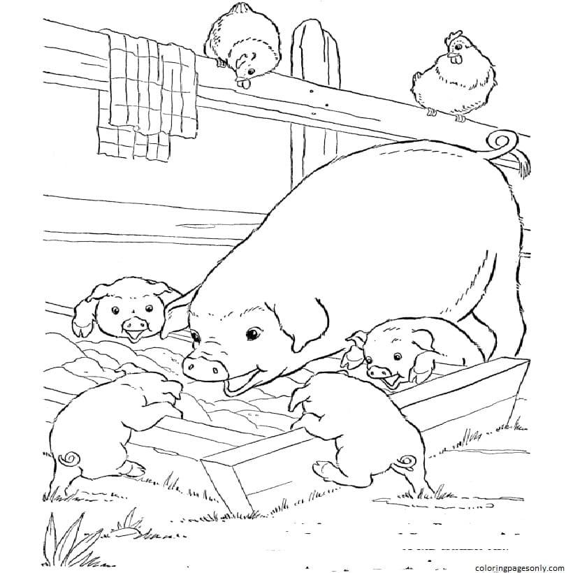 Printable Farm Animals Coloring Page