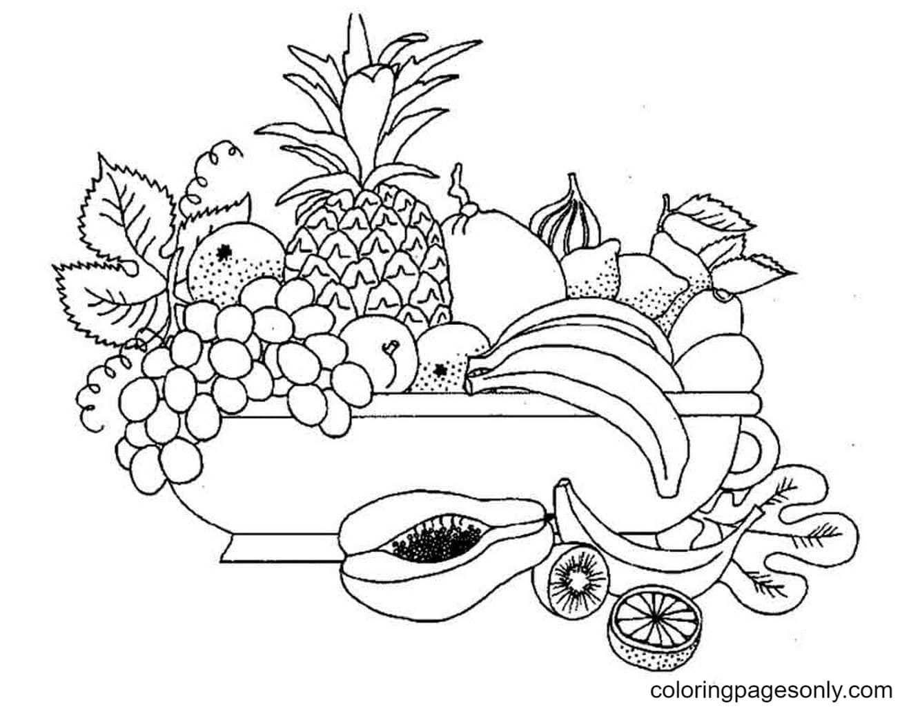 Printable Fruit Pictures Coloring Page