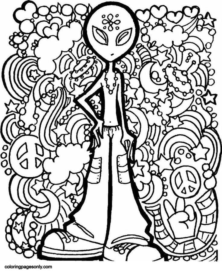 Printable Trippy Coloring Page