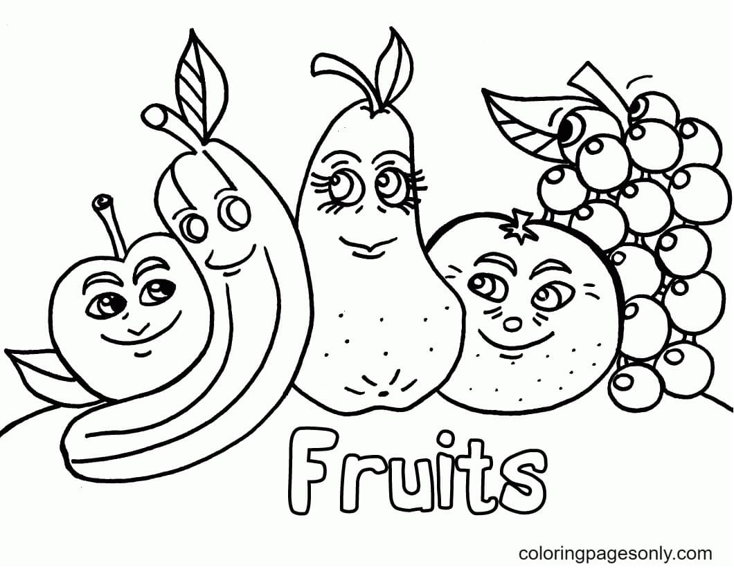 Printable Tropical Fruit Coloring Page