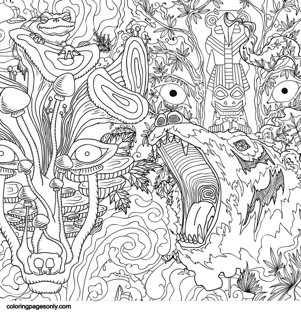 Psychedelic Ornaments 1 Coloring Page