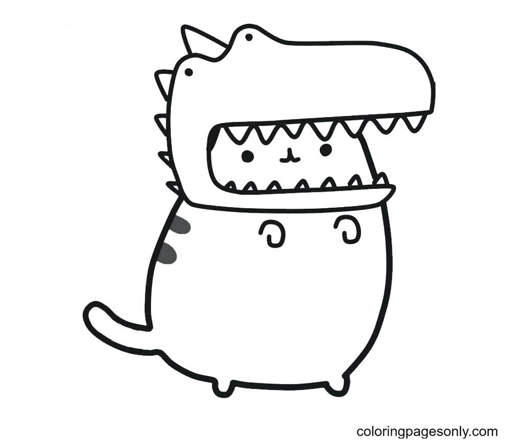 Pusheen Wearing Dinosaur Hat Coloring Page