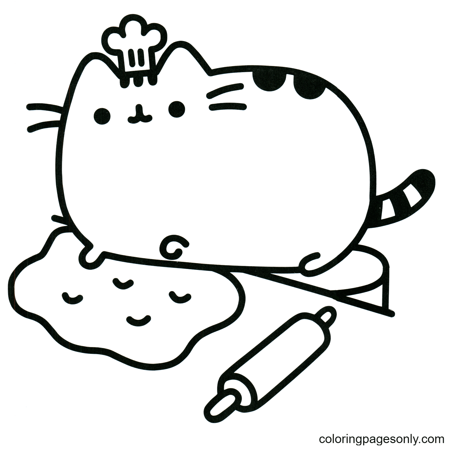Pusheen the Cat Chef Coloring Page