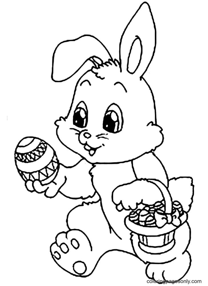 Rabbit Holds a Basket with Easter Eggs Coloring Page