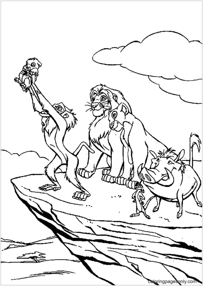 Rafiki baptizes Simba Coloring Page