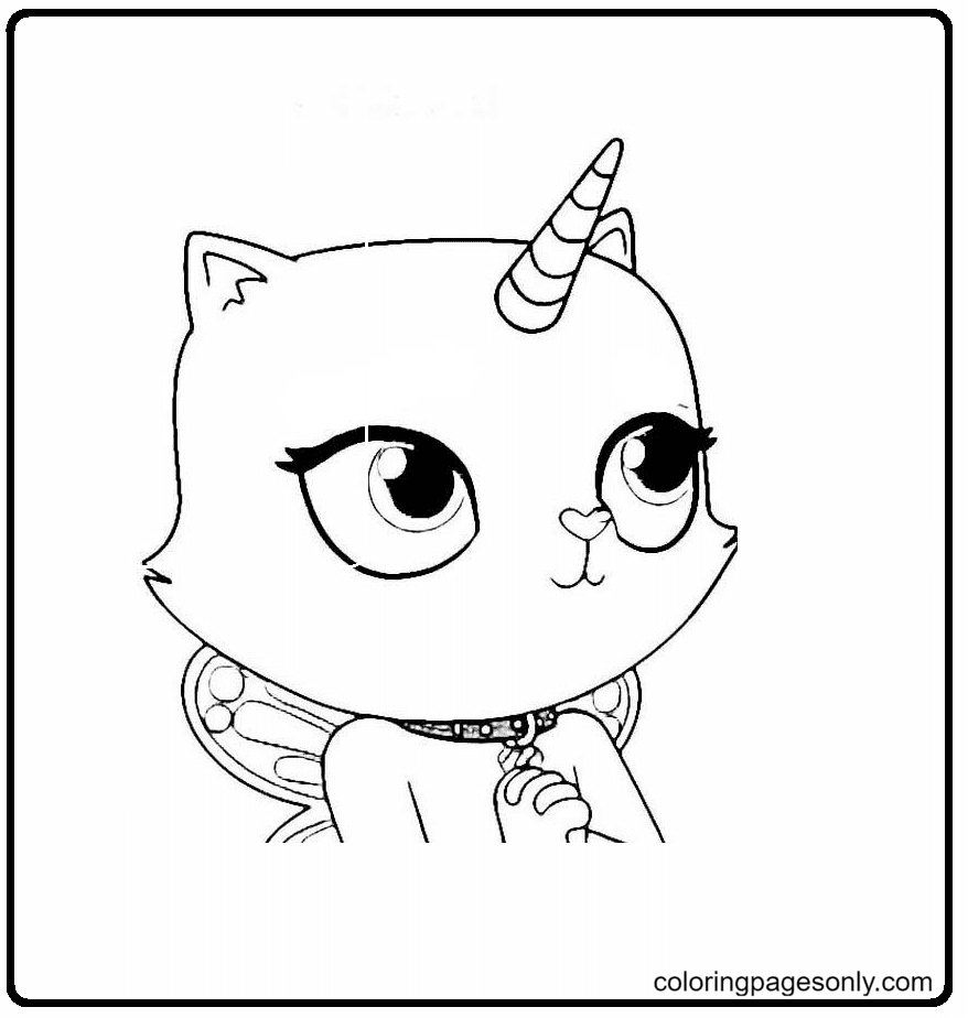 Rainbow Butterfly Unicorn Kitty Coloring Page