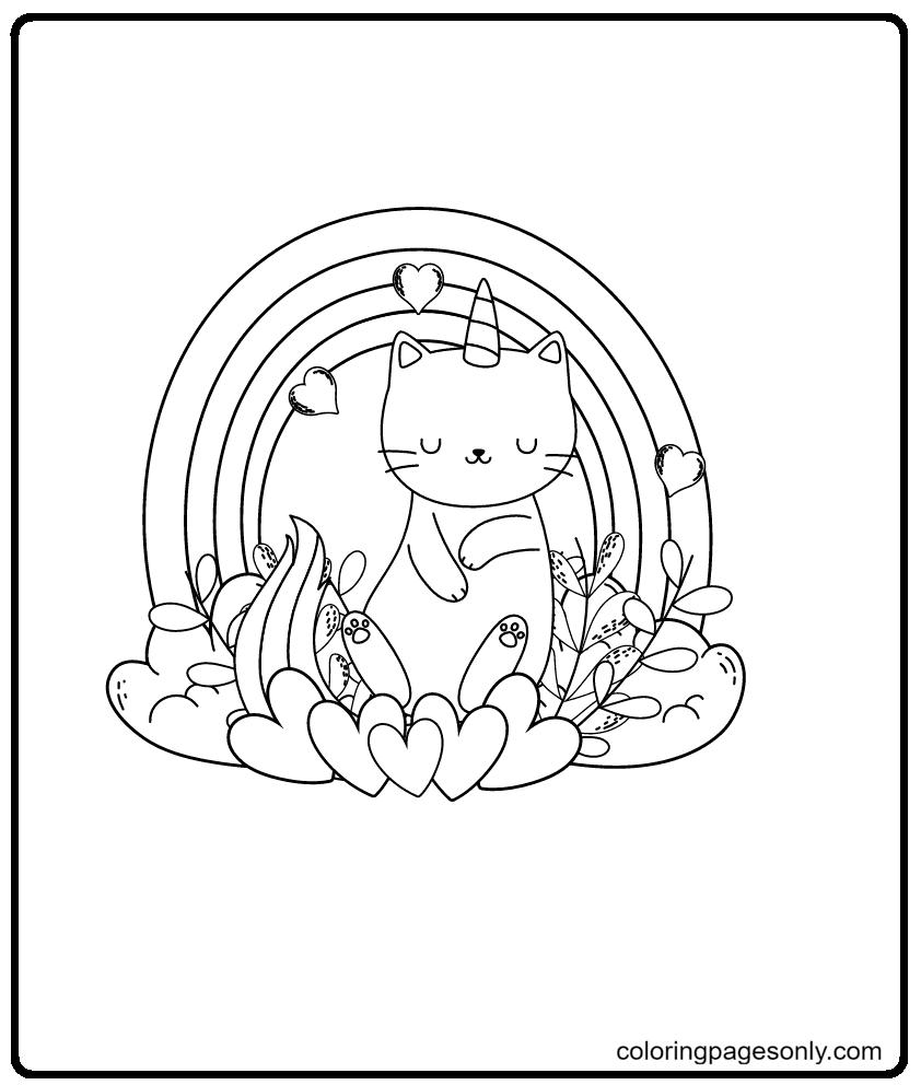 Rainbow Unicorn Kitty Coloring Page