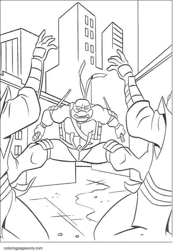 Raphael kicks 2 Foot Clan ninjas Coloring Page