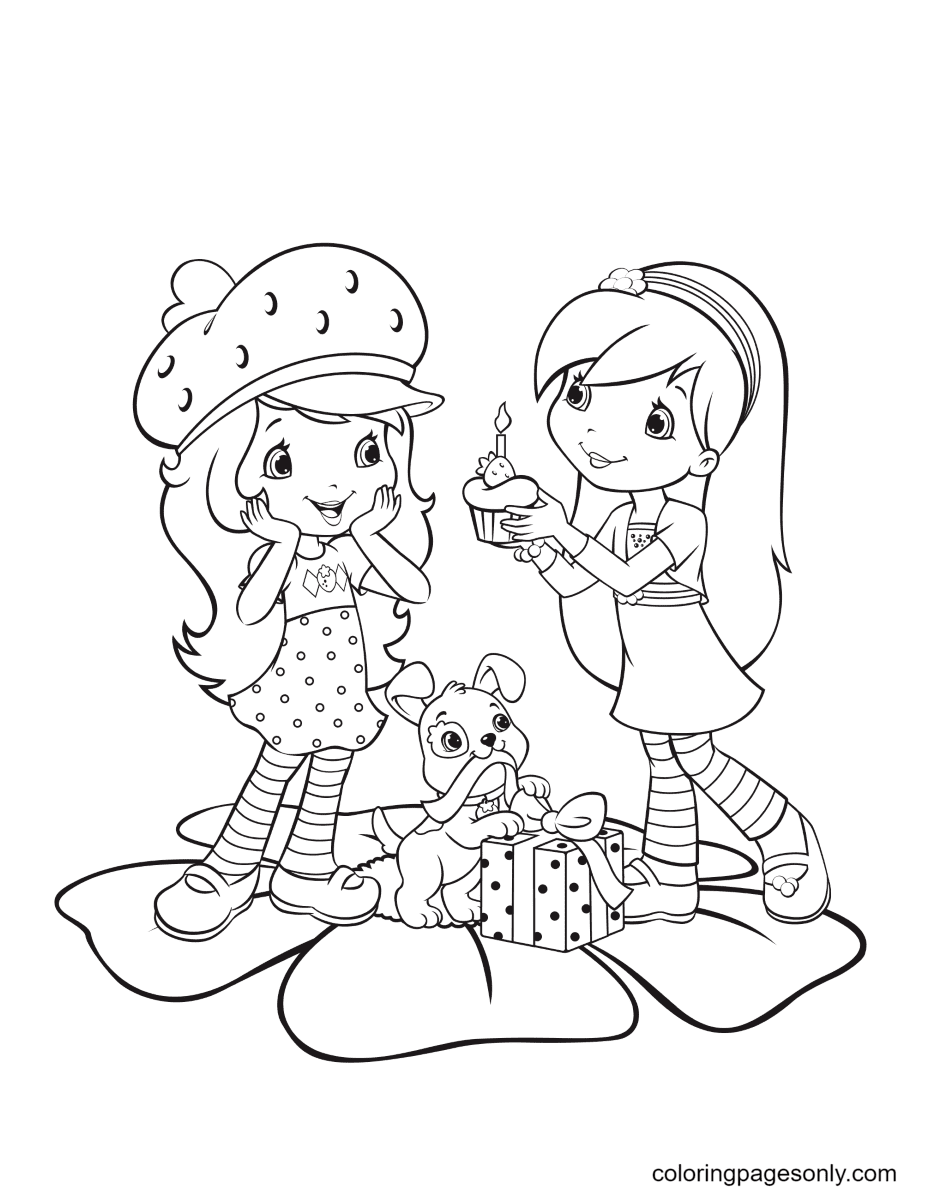Raspberry Torte gives cake to Strawberry Shortcake Coloring Page