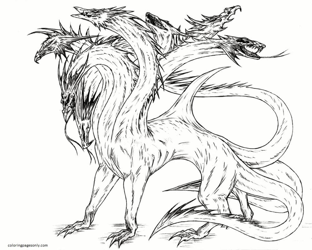 Realistic Hydra Dragon Coloring Page