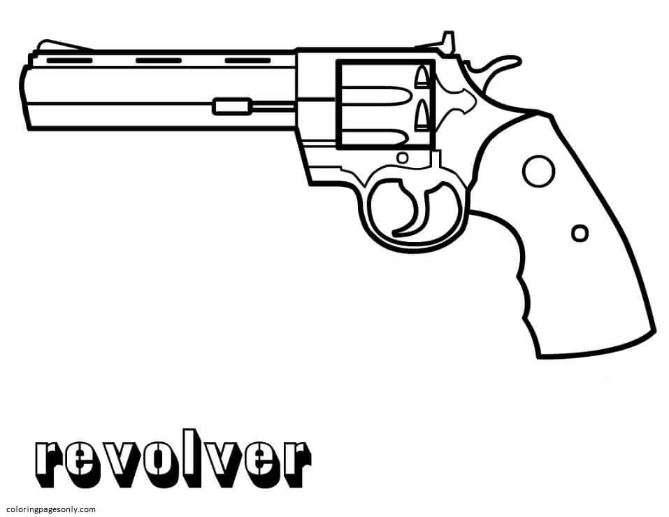 Revolver Gun Coloring Page