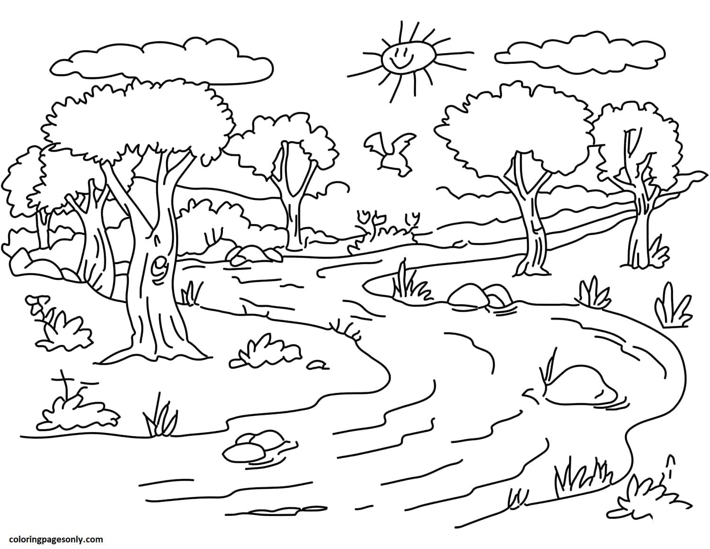 River Landscape Coloring Page