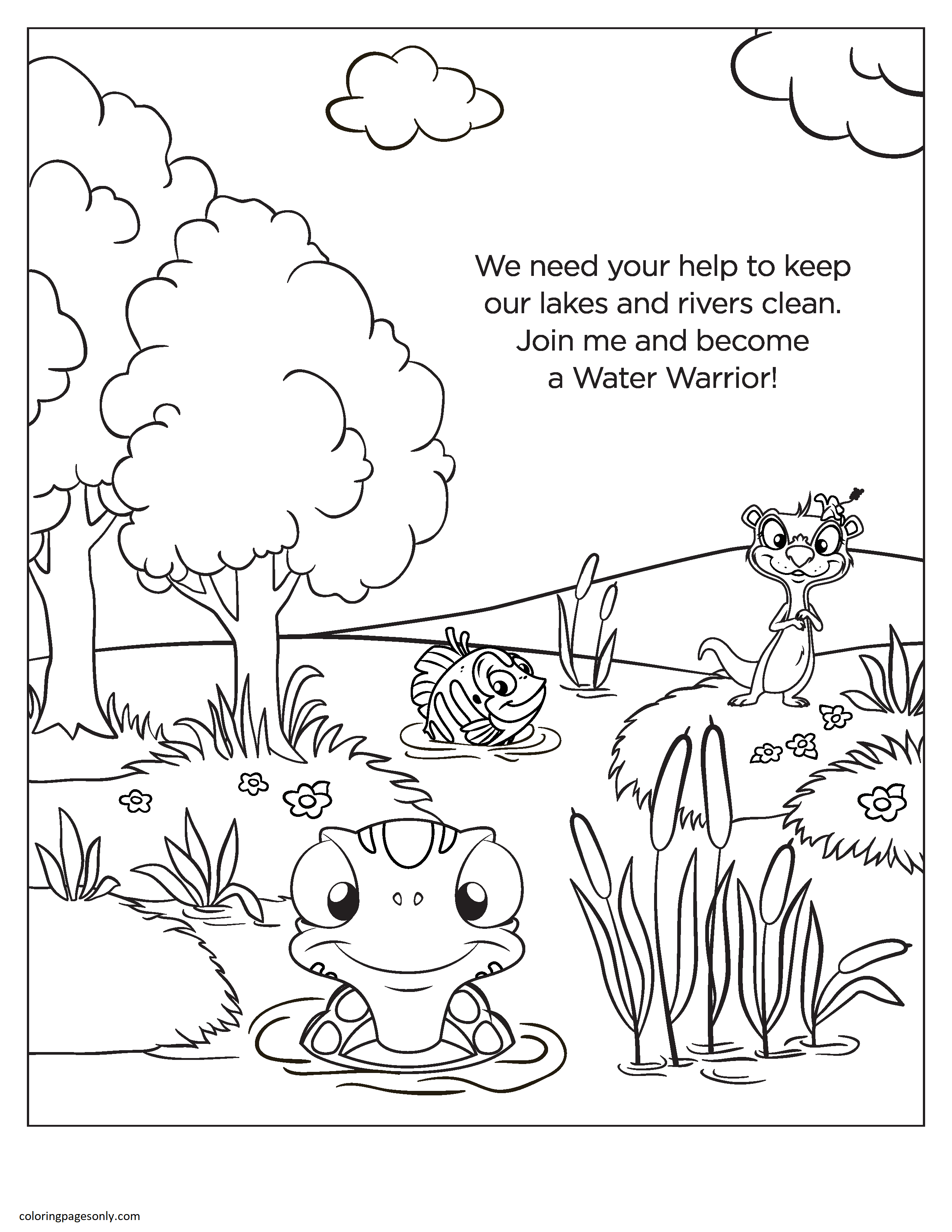 Rivers and Animal Nature Coloring Page