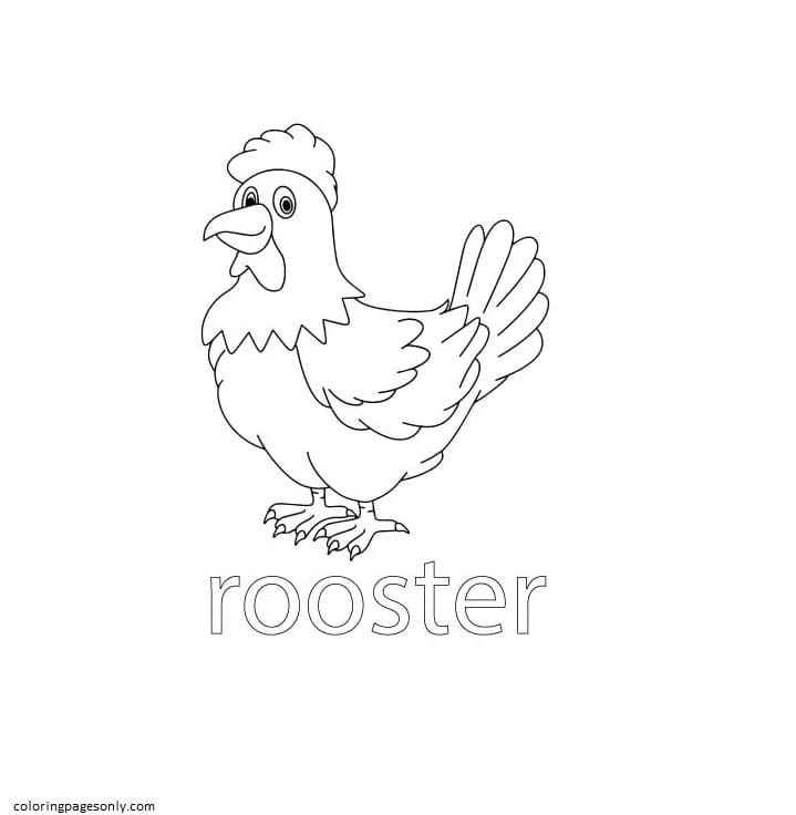 Rooster Farm Coloring Page