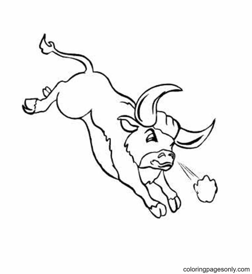 Running Angry Bull Coloring Page