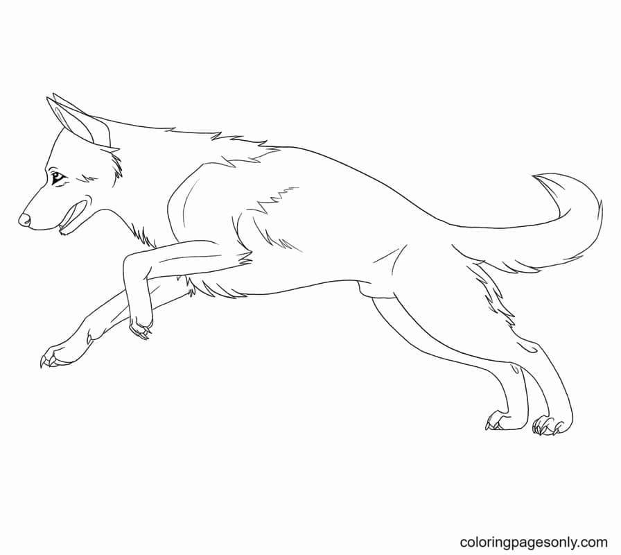 Running German Shepherd Coloring Page