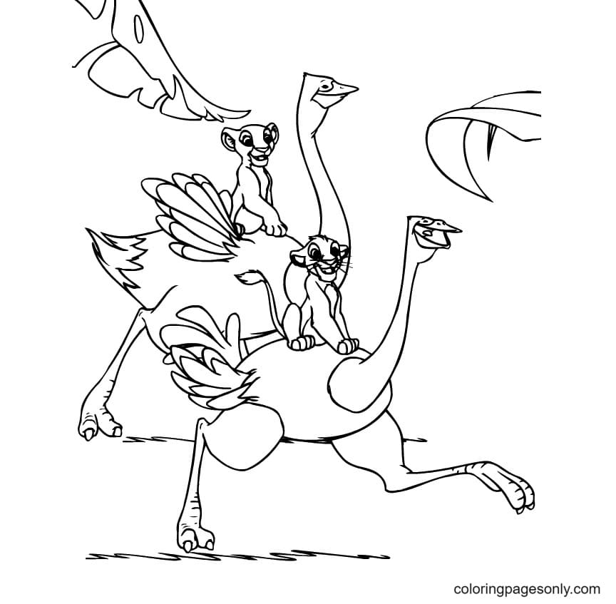 Running With Ostrichs Coloring Page