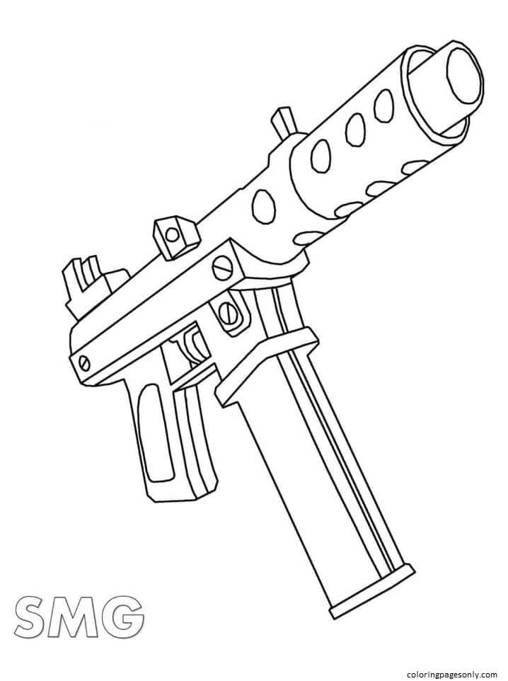 SMG Gun Coloring Page