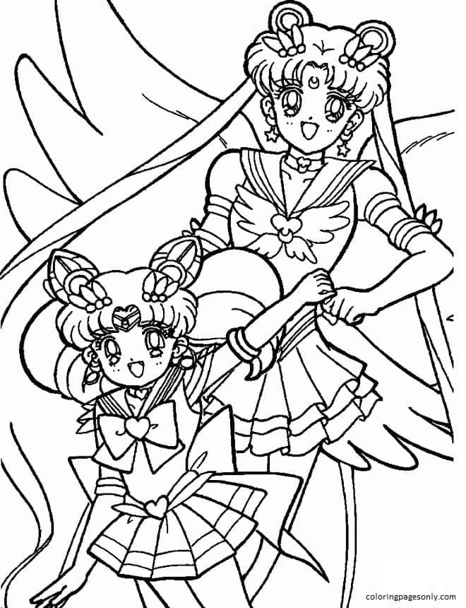 Sailor Chibi Moon and Usagi Tsukino Coloring Page