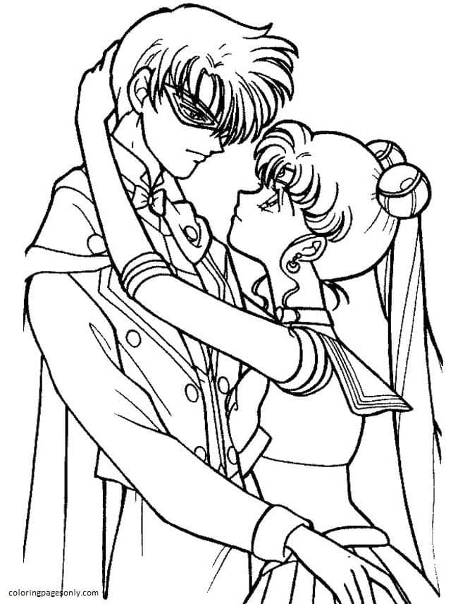 Sailor Moon And Tuxedo Mask Are In Love Coloring Page