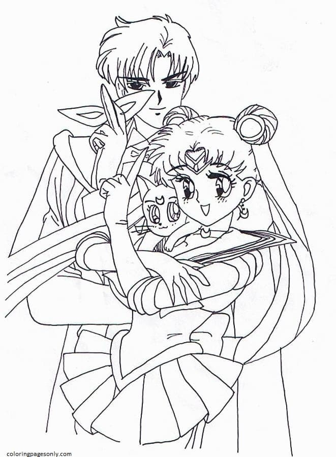 Sailor Moon And Tuxedo Mask With Luna Coloring Page