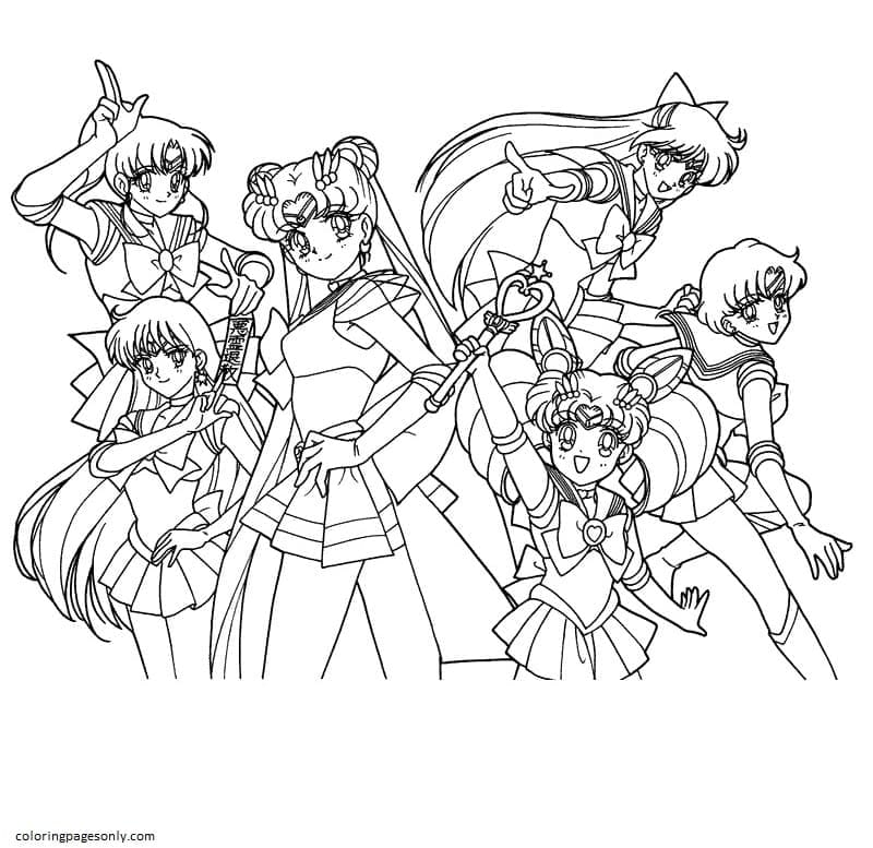 Sailor Moon Characters 2 Coloring Page