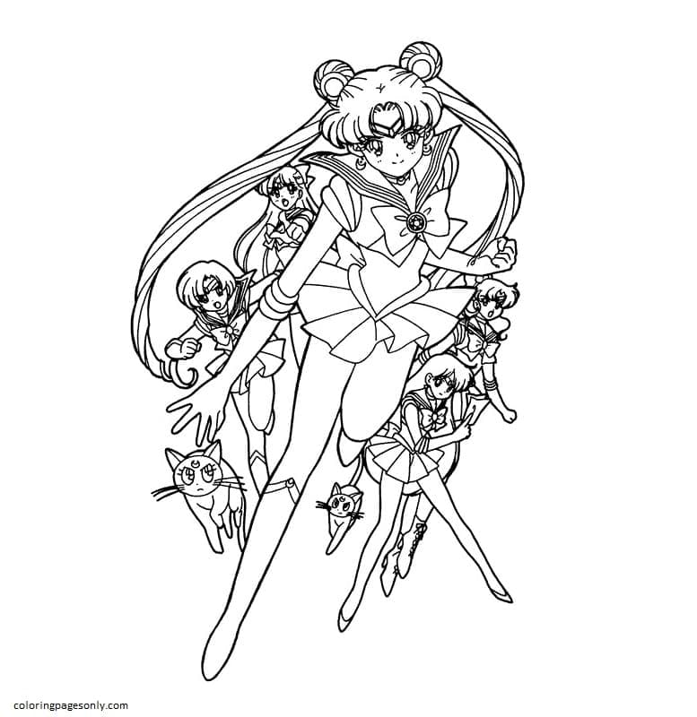 Sailor Moon Characters 3 Coloring Page