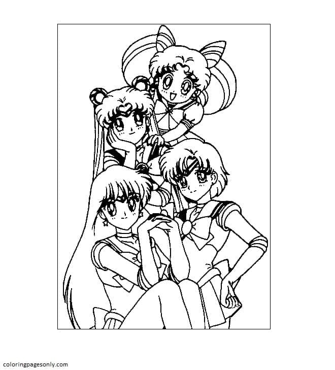 Sailor Moon Heroes Coloring Page