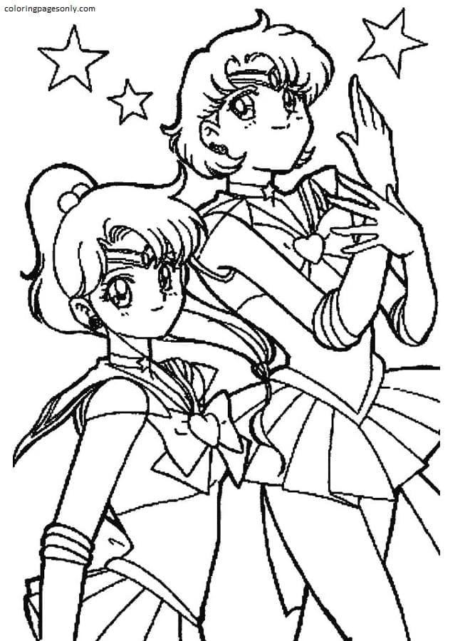 Sailor Moon Mars And Sailor Jupiter In Sailor Moon Coloring Page
