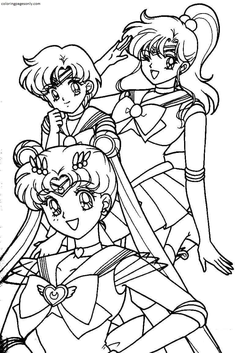 Sailor moon girls Coloring Page