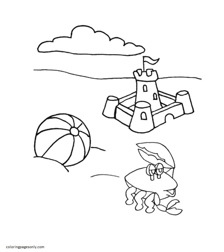 Sand Castle and Crab on Beach Coloring Page