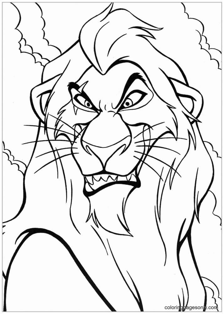 Scar Lion Coloring Page