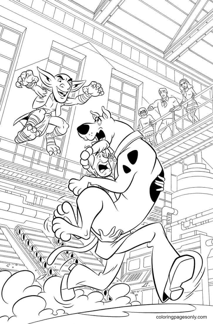 Scooby Doo And Shaggy run that the dust flew from under feet up Coloring Page