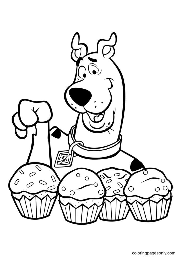 Scooby Doo With Cake Coloring Page