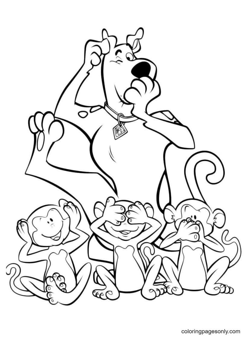 Scooby Doo and the 3 monkeys don't hear, don't see, don't tell Coloring Page