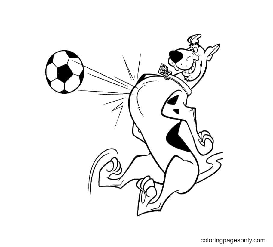 Scooby Doo as a Football Player Coloring Page