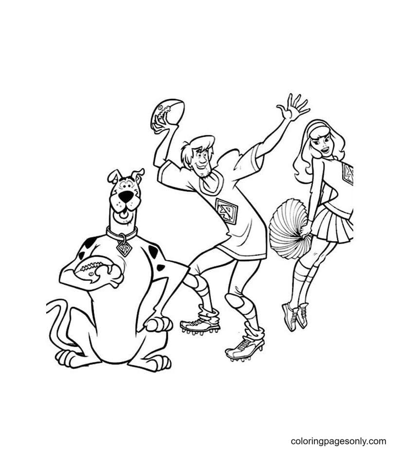 Scooby Doo play rugby with Velma And Shaggy Coloring Page