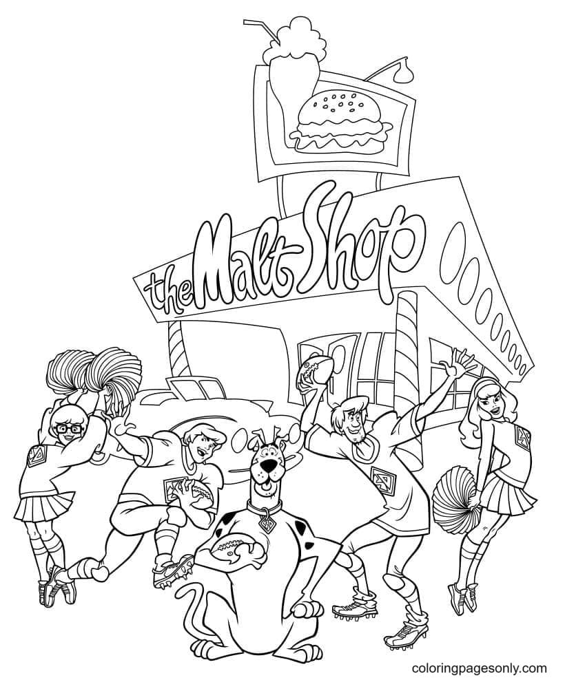 Scooby Doo relax with friends Coloring Page