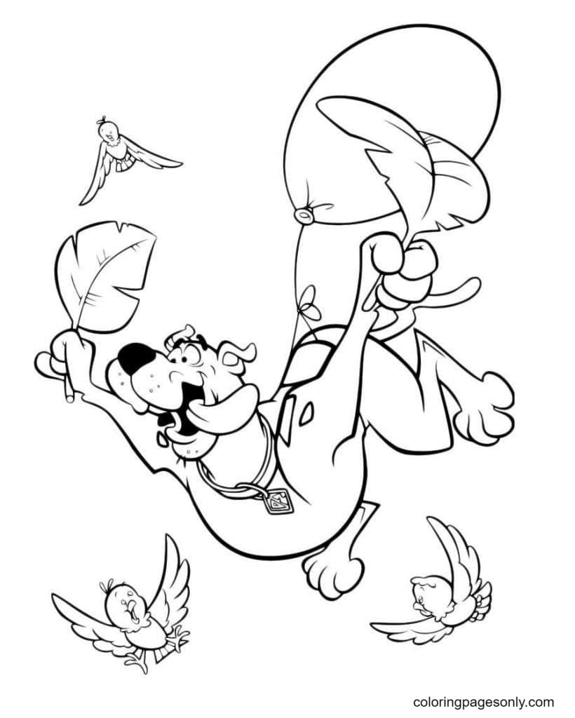 Scooby-Doo want to fly Coloring Page