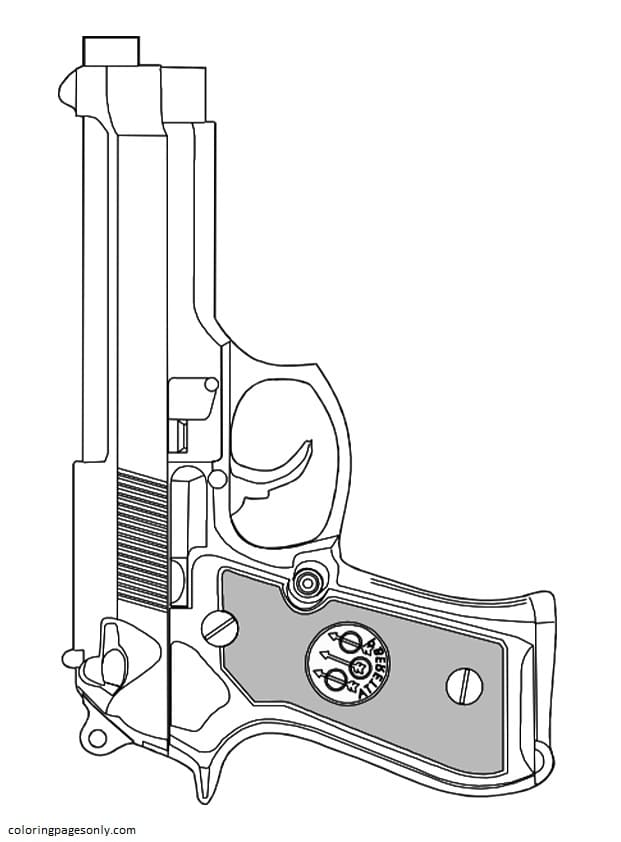 Service Pistol Coloring Page