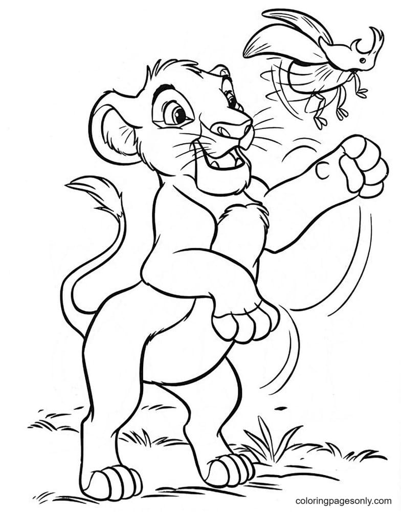 Simba playing with a beetle Coloring Page