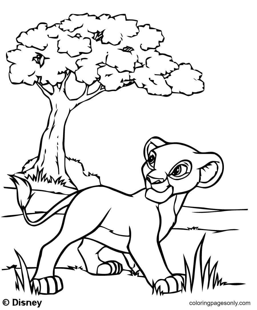 Simba walking in Savannah Coloring Page